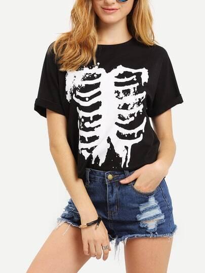 Black Print Short Sleeve T-shirt