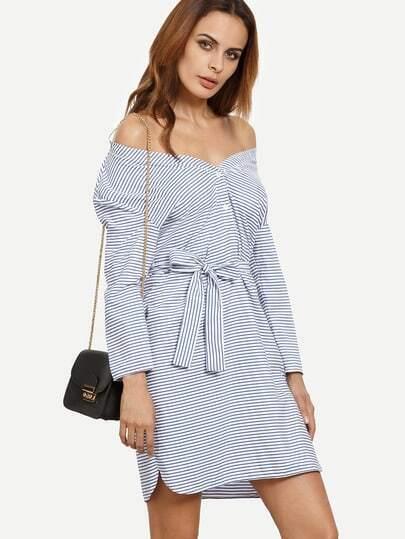 Blue Striped Long Sleeve Tie Dress