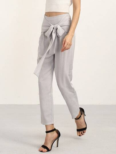 Pantaloni eleganti con fiocco decorato-grigio