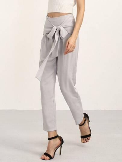 Grey Elegant Bow Decorated Pants