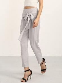 Grey Elegant Bow Decorated Pants