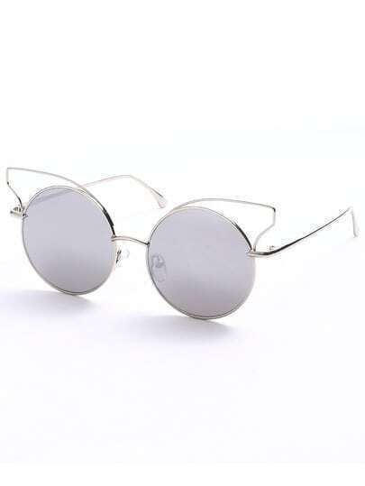 Metallic Frame Silver Lenses Cat Eye Sunglasses
