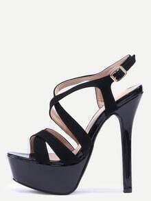 Sandales croisés à plate-forme en faux daim - noir