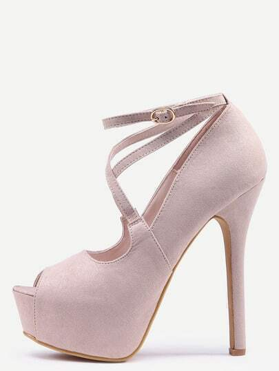 Crisscross Peep Toe Platform High Heels - Apricot
