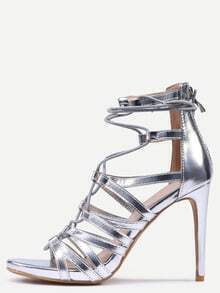 Snake Embossed Lace-Up Heeled Sandals - Silver