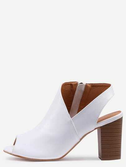 Asymmetric Cut High Vamp Stacked Heel Pumps - White