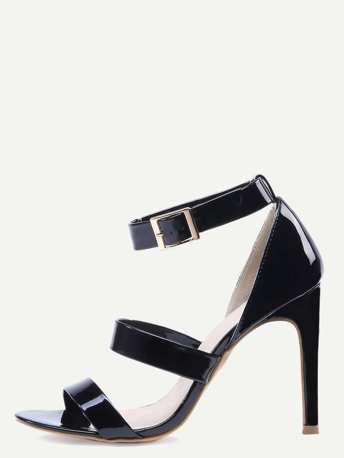 Faux Patent Leather Strappy Sandals - Black shoes16050655