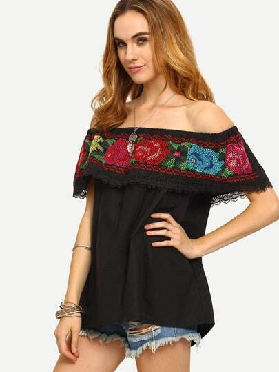 Black Off The Shoulder Embroidered Blouse