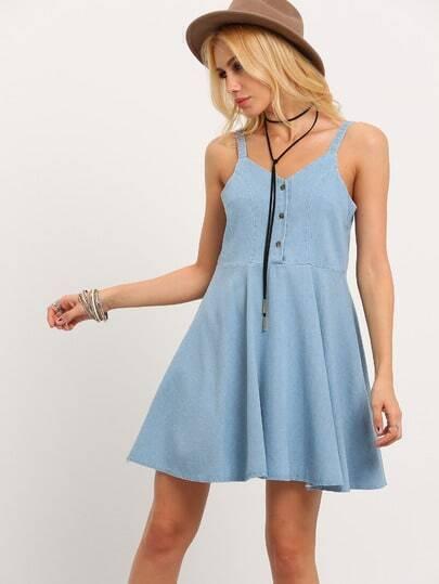 Buttoned Front Denim Skater Dress