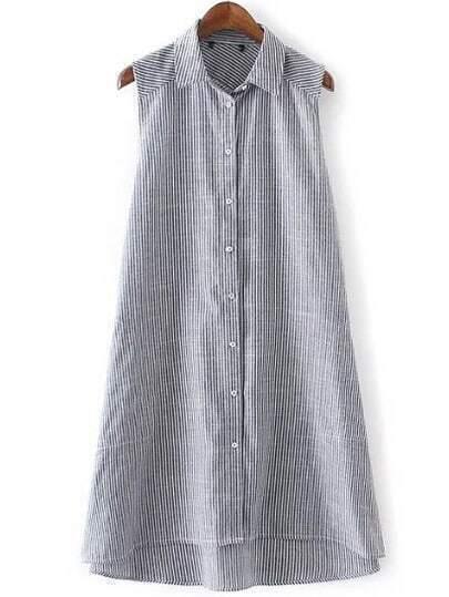 Black Sleeveless Lapel Buttons Stripe Dipped Hem Dress