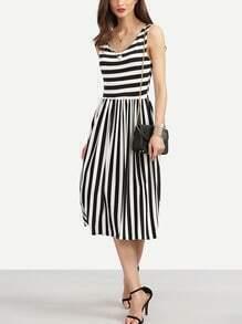Black White Mixed Stripe Pleated Dress