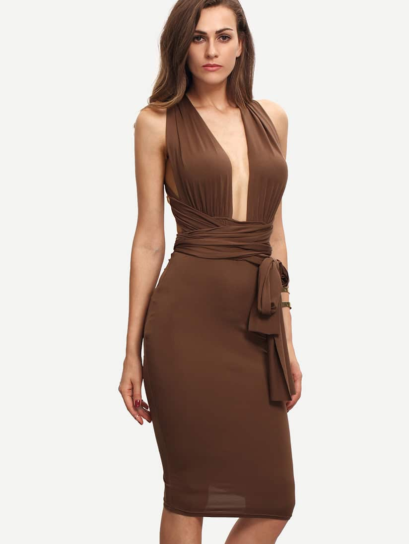 Coffee Sleeveless Tie Waist Backless Sheath Dress