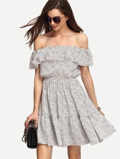 Multicolor Polka Dot Off The Shoulder Dress