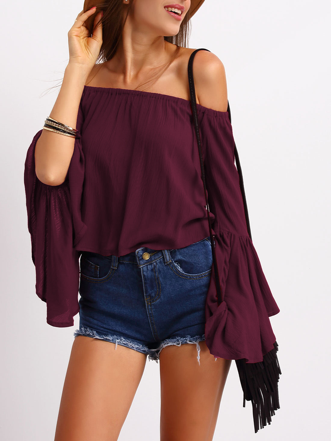 Burgundy Off the Shoulder Bell Sleeve Top blouse160308050