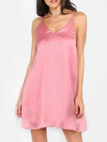 Pink Spaghetti Strap V Neck Backless Dress