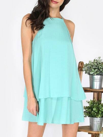 Green Spaghetti Strap Shift Dress