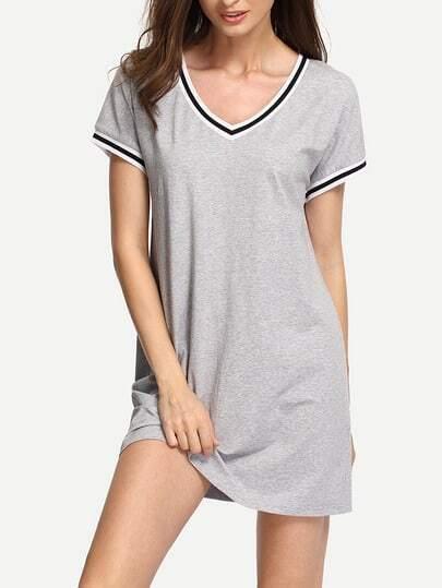 Grey V Neck Stripe Hem Athleisure Dress