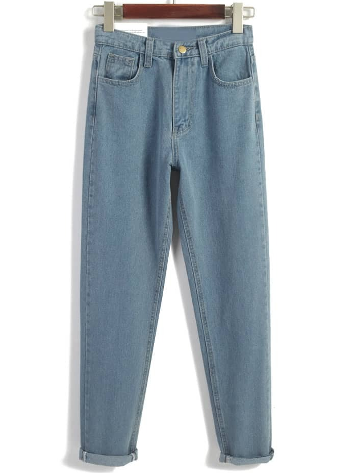 Vintage High Waist Denim Blue Pant -SheIn(Sheinside)