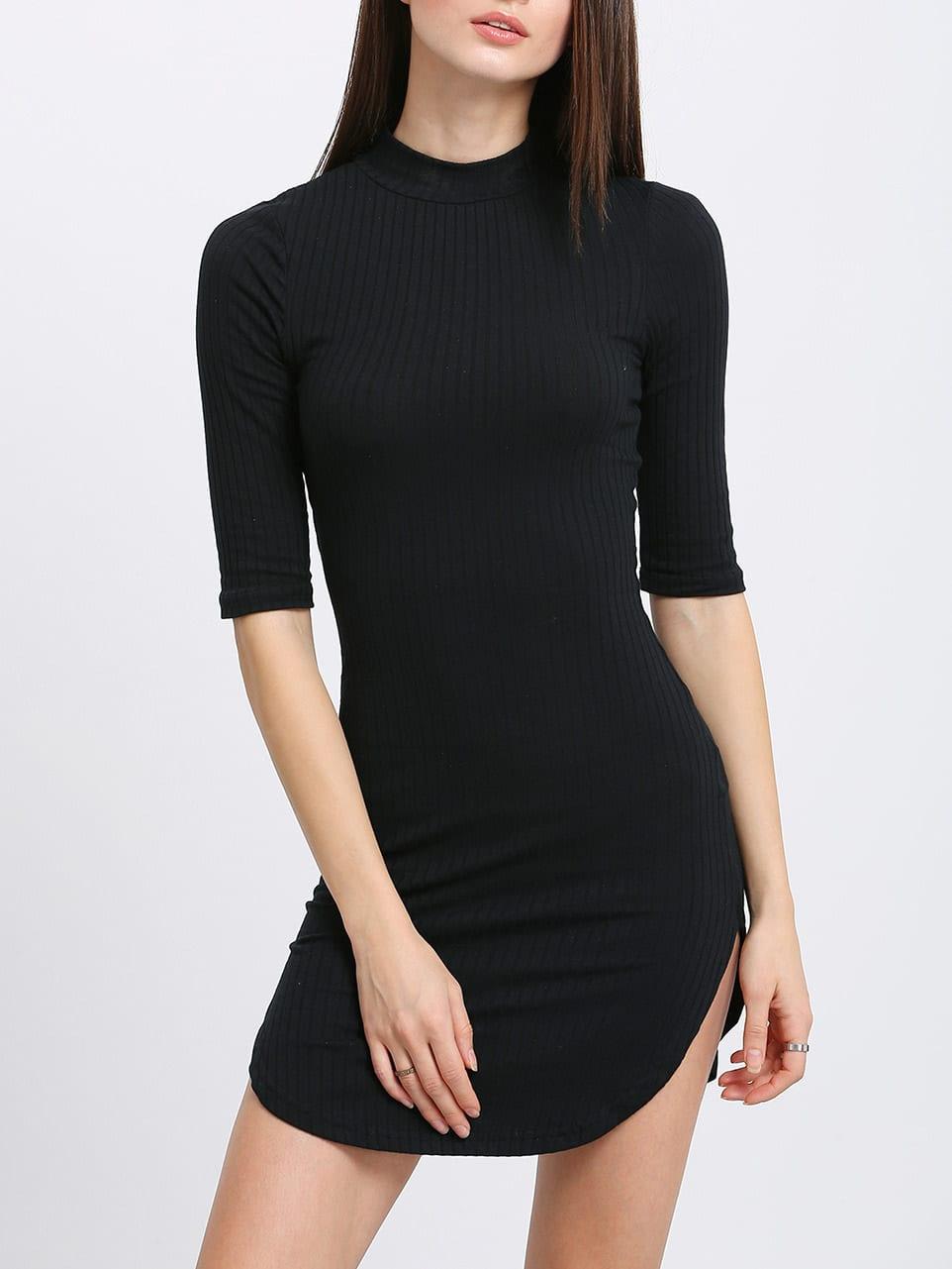 Ribbed Knit Slim Dolphin Hem Dress dress160315703