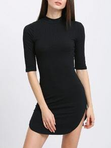 Ribbed Knit Slim Dolphin Hem Dress
