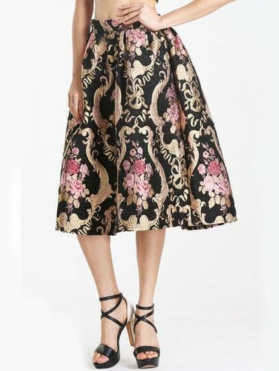 Multicolor Vintage Floral Pleated Skirt