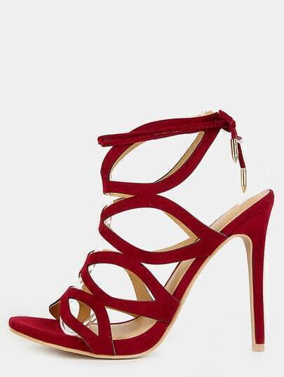 Open Toe Cut Out Stiletto Heels WINE
