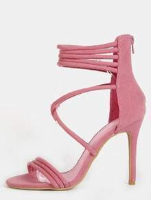 Criss Cross Strappy Single Sole Heels MAUVE