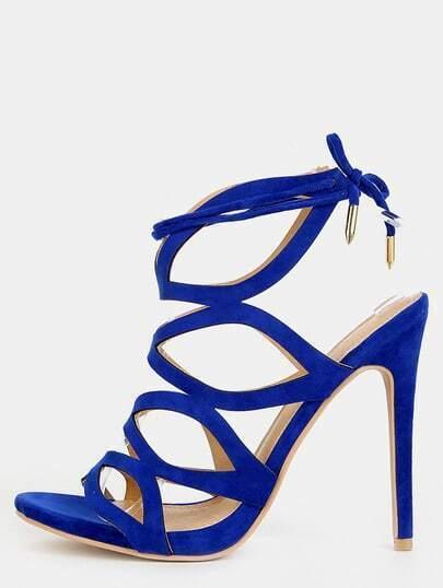 Cut Out Tie Back Stiletto Heels BLUE
