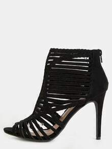 Strappy Cut Out Stiletto Ankle Booties BLACK