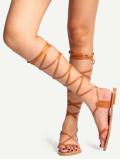 Sandales spartiates décontracté bout ouvert - marron clair