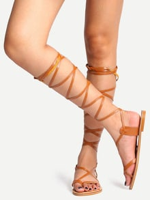 Light Brown Peep Toe Gladiator Sandals