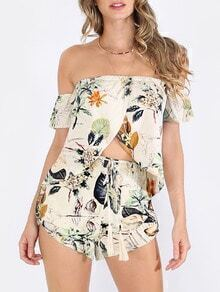 Multicolor Floral Off The Shoulder Blouse With Shorts