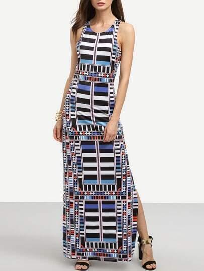 Multicolor Geometric Print Cutout Tank Dress