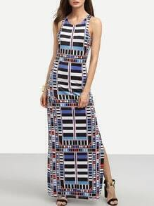 Multicolor Geometric Print Cutout Tank Dress