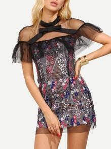 Multicolor Ruffled Sheer Shoulder Flower Embroidered Dress