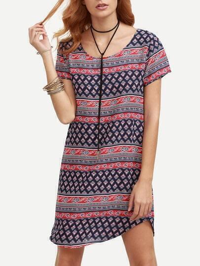 Navy Tribal Print Shift Dress
