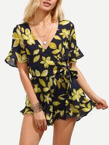 Deep V Neck Flower Print Wrap Self-Tie Romper