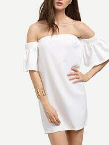 White Off The Shoulder Ruffle Sleeve Dress