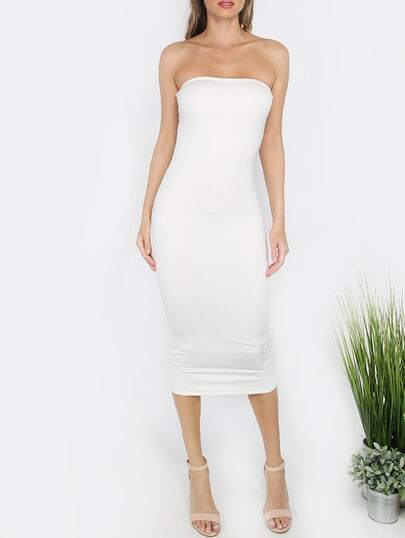 White Bandeau Sheath Basic Dress