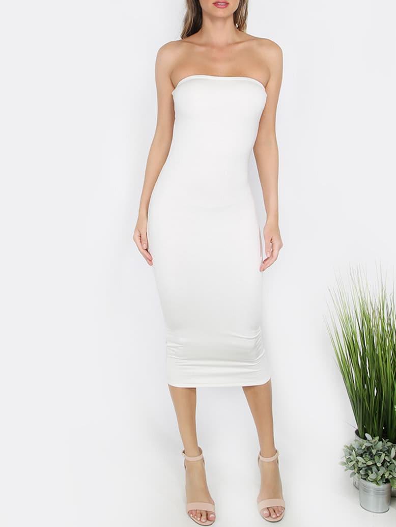 Фото White Bandeau Sheath Basic Dress. Купить с доставкой