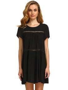 Black Short Sleeve Shift Dress