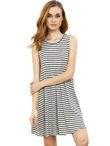 Grey Striped Sleeveless Dress