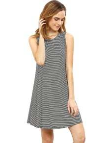 Black White Striped Sleeveless Dress