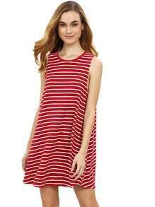 Maroon Striped Sleeveless Dress