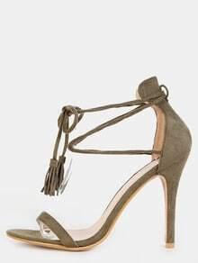 Stiletto Open Toe Tassel Heels OLIVE