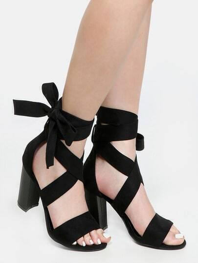 Lace Up Block Heels BLACK