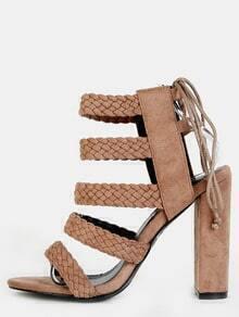 Braided Chunky Heels TAUPE