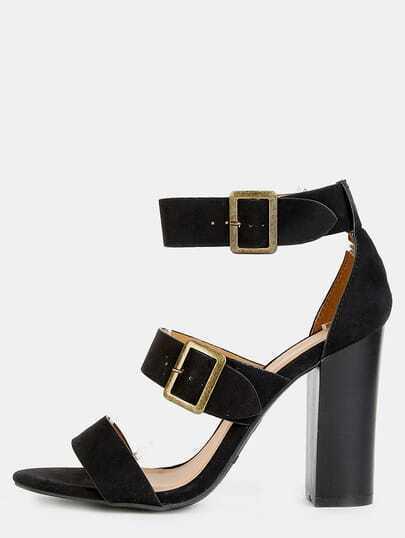 Triple Strap Chunky Heels BLACK