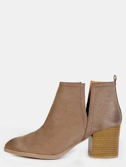 Stitched Pointy Toe Chunky Heel Boots TAUPE