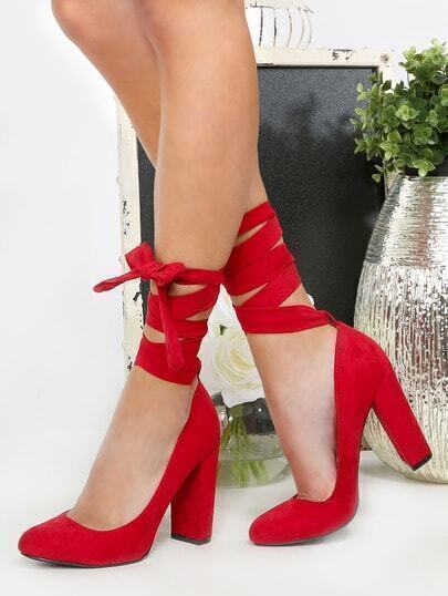 Faux Suede Lace Up Pumps DARK RED
